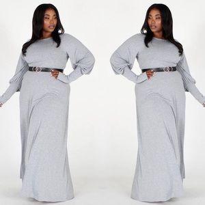 Long Sleeve Maxi Dress-Curvy